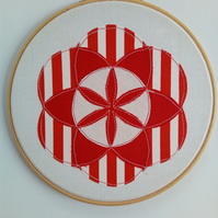 Geometric Textile Art, Abstract, Hooped Art, 'Seed of Life', Red and White