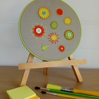 Geometric Circles, Embroidered Felt Textile Art, Hooped Art, Abstract, Wall Art,