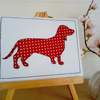 Sausage Dog Textile Art, Dachshund, Pets, Animals, Dog Artwork, Picture