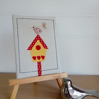 Birdhouse Textile Art Picture, Hand Embroidered Bird, Decorative Home Ware,
