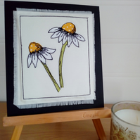 Daisy, Daisy Textile Art, Free Motion Embroidered Summer Flowers Artwork