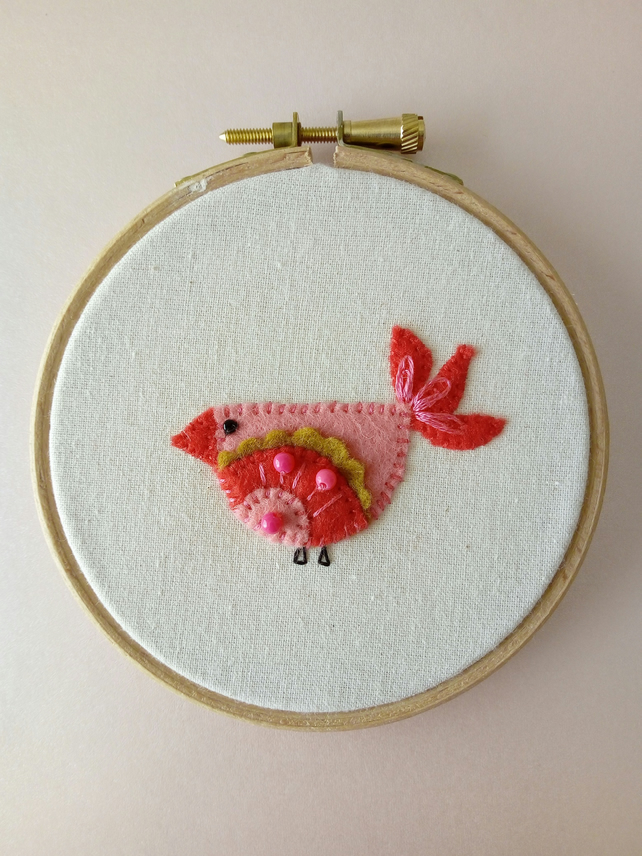 "Bird - 4"" Wooden Hoop, Cute, Felt, Hand Sewn, Embroidered, Hanging Decoration,"