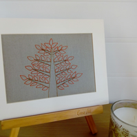 Hand Embroidered Tree, Mounted Picture, Wall Art, Textile Art, Home Decoration