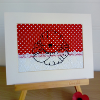 Poppy Textile Art, Red Poppy, Remembrance Day,