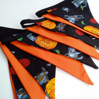 Halloween Bunting, Kittens and Pumpkins, Orange and Black,