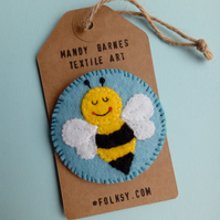 Bee Brooch, Bumblebee Badge,