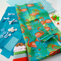 'Flamingo' - Fabrics and Embellishments Pack - Crafts, Hobbies, Supplies, Makers