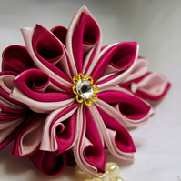 Stunning fuscia and pale pink flower barrette clip with Swarovski crystals