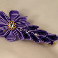 Handcrafted floral spray alligator clip with crystal elements