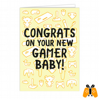 New Gamer Baby! - A5 Gamer Greeting Card