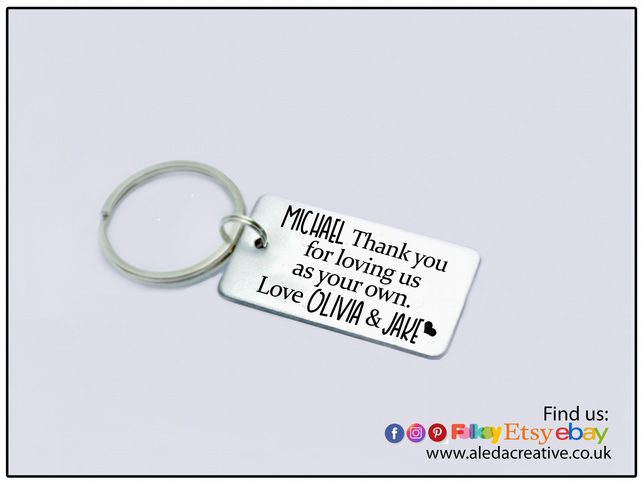 Gift for Stepdad, Personalised Keyring for stepdad, Fathers Day gift