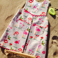 Flamingos Flowers and Palm Girls Dress Handmade