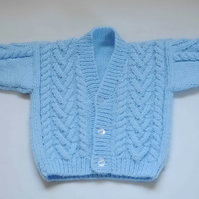 babies blue patterned cardigan to fit age 6 to 12 months