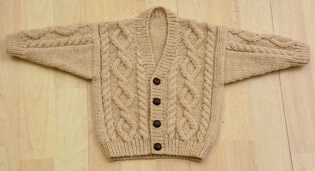Toddlers handknitted aran style cardigan age approx 1 to 2 years