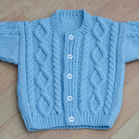 babies blue patterned cardigan to fit age 6 to 12 months 46cm 18inch chest