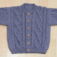 toddlers aran style hand knitted cardigan age approx 1 to 2 years in blue
