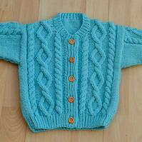 babies blue Hand knitted cardigan chest 46cms 18inches age 6-12mths  aran style