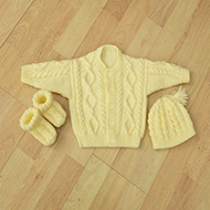 baby set hand knitted cardigan,bootees and hat .Birth gift