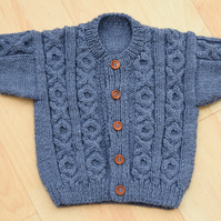 baby cardigan  hand knitted 6 to 12 months in blue aran style