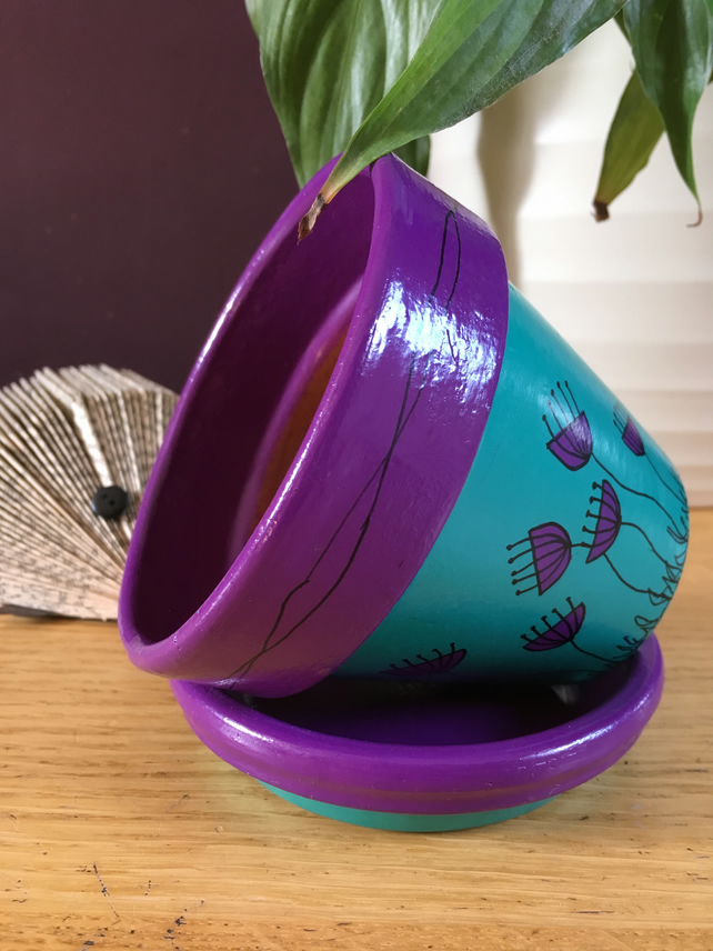 Folksy & HAND PAINTED FLOWER POT AND SAUCER (11CM) - Purple \u0026 Turquoise