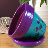 HAND PAINTED FLOWER POT AND SAUCER (11CM) - Purple & Turquoise