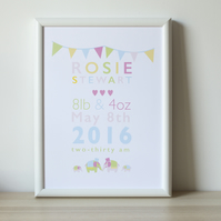 Personalised A3 nursery print for a new baby