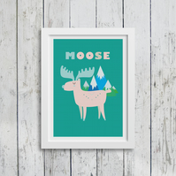 Moose A3 children's print