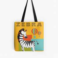 Large zebra print tote bag