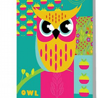 Bright owl greetings card