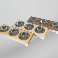 Lovely Wooden triple bowl cat table, cat bowl, cat feeder, pet accessories, cat