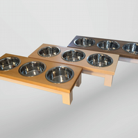 Medium dog wooden triple bowl dog table