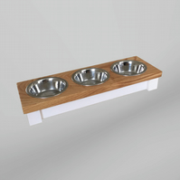 Solid Oak triple cat bowl table