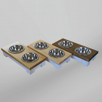 Small dog raised double bowl feeding table