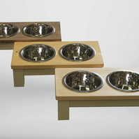 medium dog, double bowl dog table, raised dog bowl, dog bowls, wooden dog bowls,