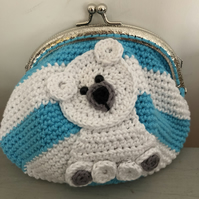 Crochet oversized polar bear baby purse