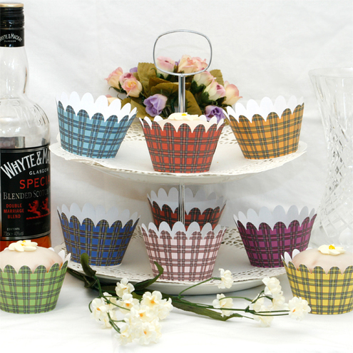 Tartan Cupcake Wrappers - pack of 12 - Mixed Colours
