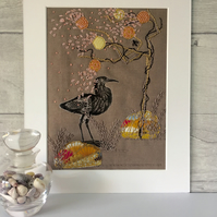 Embroidered Appliqué Picture Oriental Bird in Blossom