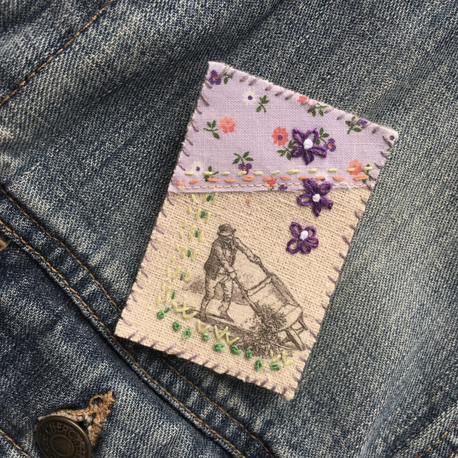 Gardener's Embroidered Textile Brooch
