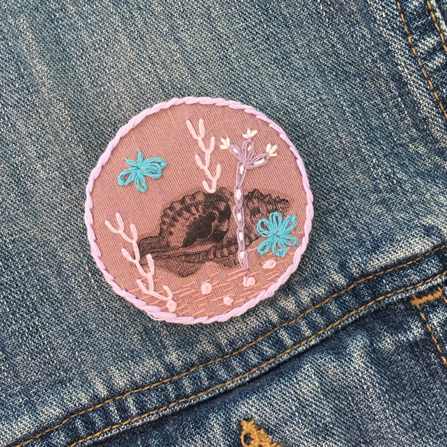 Underwater Embroidered Textile Brooch
