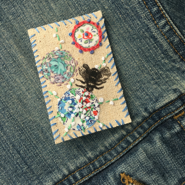Bee Embroidered Textile Brooch