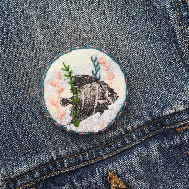 Underwater Fish Embroidered Textile Brooch