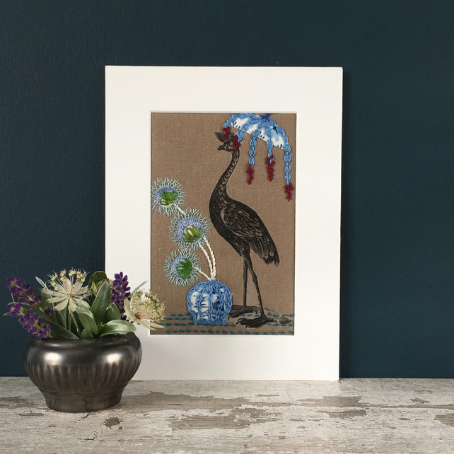 Embroidered Appliqué Picture - Oriental Bird