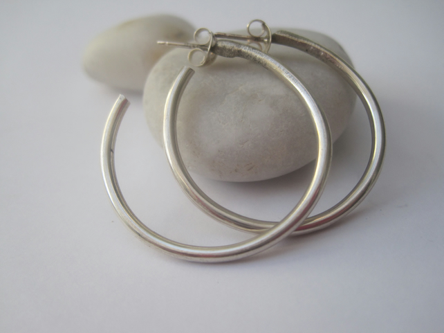 Handmade Silver Hoop Earrings, sterling silver earrings