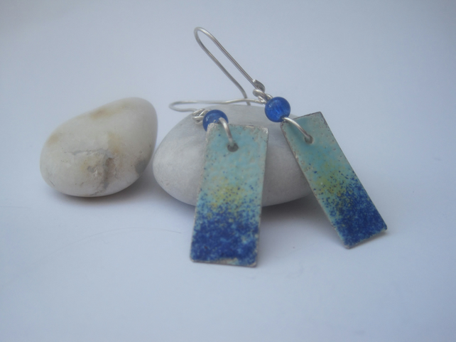 Silver Enameled Earrings, Enamel earrings
