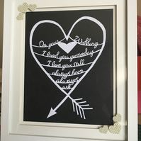 Black and white On your wedding papercut