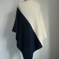 Lambswool and angora poncho in two colours
