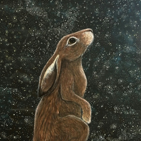 Hare Archival Art Print - A4 Print, Stars, Moon Gazing Hare, Children's Art