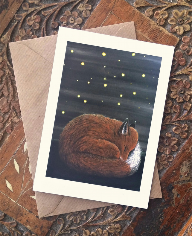 Fox and Fireflies Blank Art Greeting Card