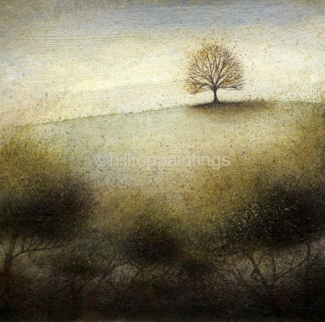 Cool November - Tree Landscape Painting Signed Archival Giclée Print 15cmsx15cm