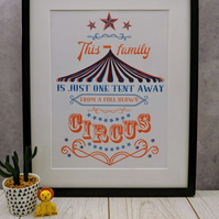 Limited edition risograph print: Circus, family life, inspirational quote